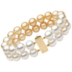 Yoko London Golden and White South Sea Pearl Two Row Bracelet Set on 18K Gold