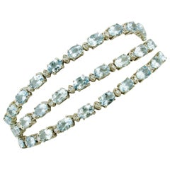 White Diamonds Aquamarine White Gold Tennis Bracelet