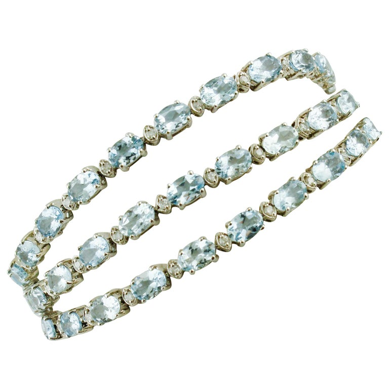 White Diamonds Aquamarine White Gold Tennis Bracelet