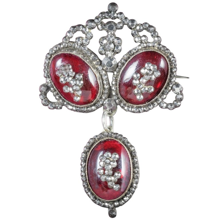 Antique Georgian Garnet Brooch Silver, circa 1780