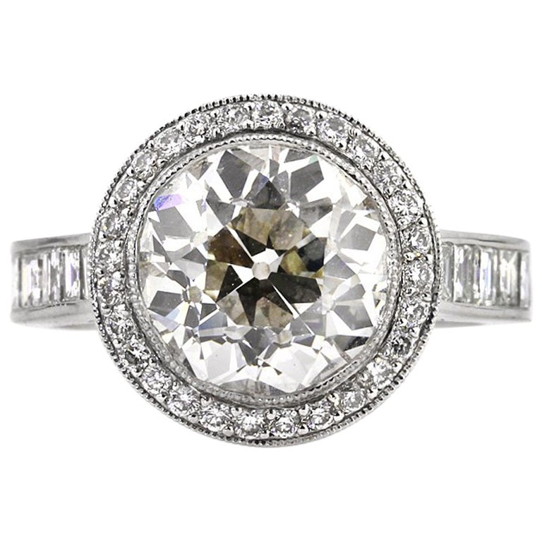 Mark Broumand 7.09 Carat Old European Cut Diamond Engagement Ring