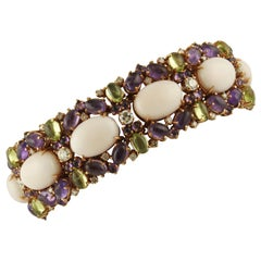 White Diamonds Amethysts Peridots Pink Coral Rose Gold Link Bracelet