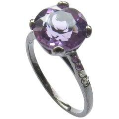 Fei Liu 18 Karat Small Round Purple Amethyst with Diamonds Cocktail Ring