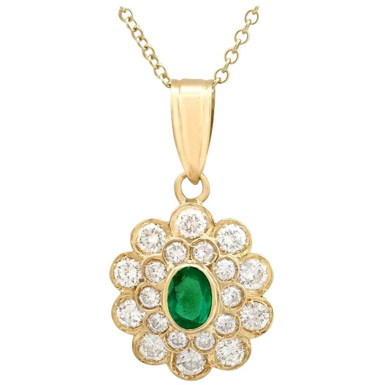 Vintage Emerald and 2.28 Carat Diamond Yellow Gold Pendant
