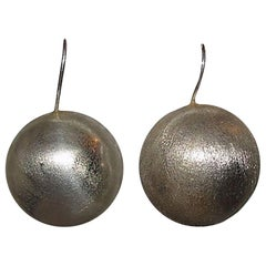 Handmade Etched Sterling Ball Drop Earrings