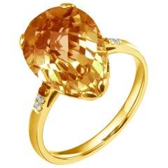 Fei Liu 18 Karat Yellow Gold  Small Pear Citrine Stone Ring