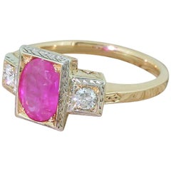 Midcentury 1.66 Carat Ruby and Diamond Trilogy Ring