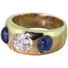 Victorian 0.90 Carat Old Cut Diamond and Cabochon Sapphire Trilogy Ring
