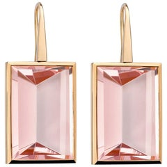 Precious Basics Rose Gold Earrings with Morganites 46.70 Carat