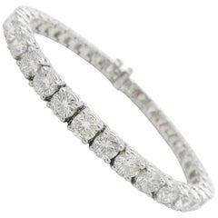 Custom 14.7 Carat Diamond Tennis Bracelet 14 Karat White Gold
