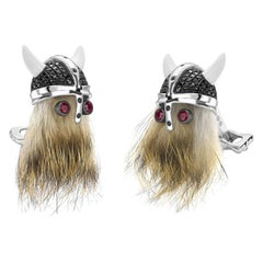 Deakin & Francis Hairy Viking Skull, Black Spinel Helmet and Ruby Eye Cufflinks