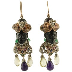 Diamonds Sapphire Ruby Emerald Amethyst Citrine Pearls Garnet Ebony Earrings