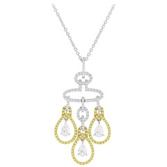 2.69 Carat Diamond and Yellow Diamond Drop Pendant in White and Yellow Gold