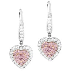 GIA Certified 1.15 Carat Natural Fancy Pink Diamond Heart Earrings