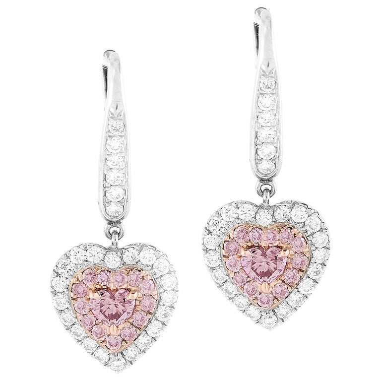 GIA Certified 1.15 Carat Natural Fancy Pink Diamond Heart Earrings For Sale