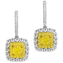 GIA Certified 1.65 Carat Natural Fancy Intense Yellow Diamond Halo Hoop Earrings