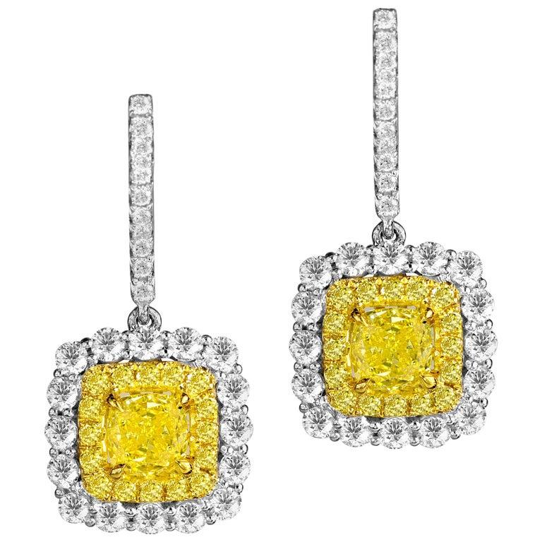 GIA Certified 1.65 Carat Natural Fancy Intense Yellow Diamond Halo Hoop Earrings For Sale