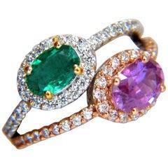 2.41 Carat Natural Vivid Green and Pink Sapphire Diamonds Ring 14 Karat