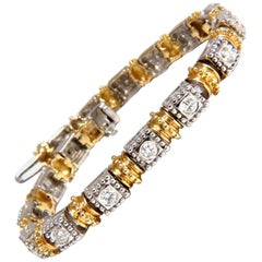 Deco Spanish Gothic Natural Diamond Tennis Bracelet 2.50ct. G/Vs 14kt 2-tone