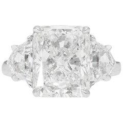 GIA Certified 5.52 Carat Radiant Three Stone Ring