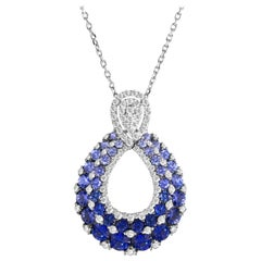 2.09 Carat Blue Sapphire and Drop Diamond Pendant in 18 Karat White Gold