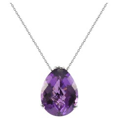 Fei Liu Purple Amethyst 18 Karat White Gold Large Pear Stone Pendant