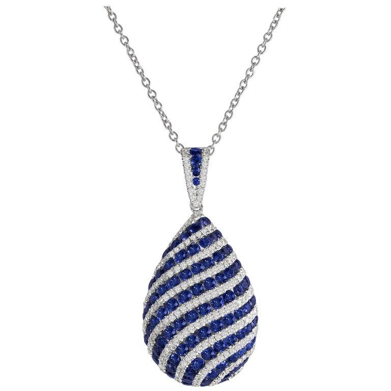 1.74 Carat Blue Sapphire and Drop Diamond Pendant in 18 Karat White Gold