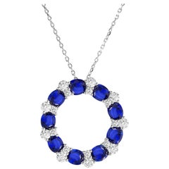 3.82 Carat Blue Sapphire and Diamond Pendant in 18 Karat White Gold