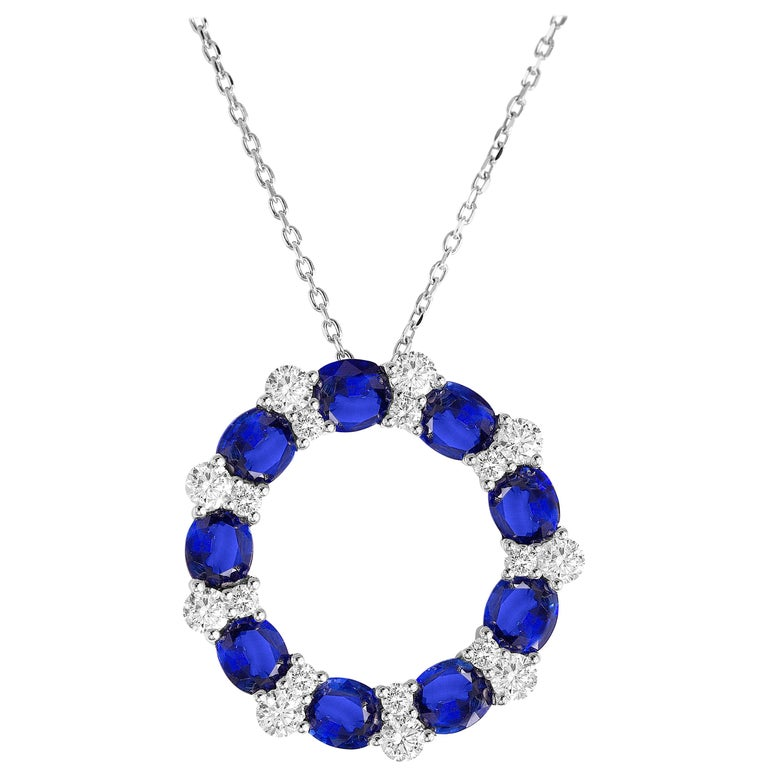 3.82 Carat Blue Sapphire and Diamond Pendant in 18 Karat White Gold For Sale
