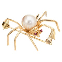 Spider Brooch Pendant Ruby Eyes Cultured Pearl Vintage 14k Yellow Gold