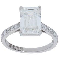 GIA Certified 3.74 Carat Emerald Cut Diamond Ring