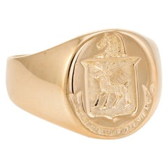 Mens Family Crest Signet Ring Vintage 18k Yellow Gold