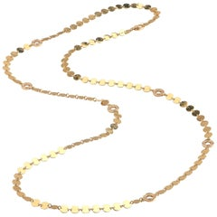 1.55 Carat Diamond and Yellow Gold Disc Necklace