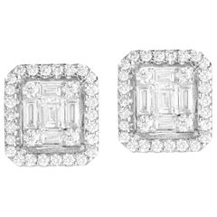 0.75 Carat Cluster Stud Diamond Earrings in 18 Karat White Gold