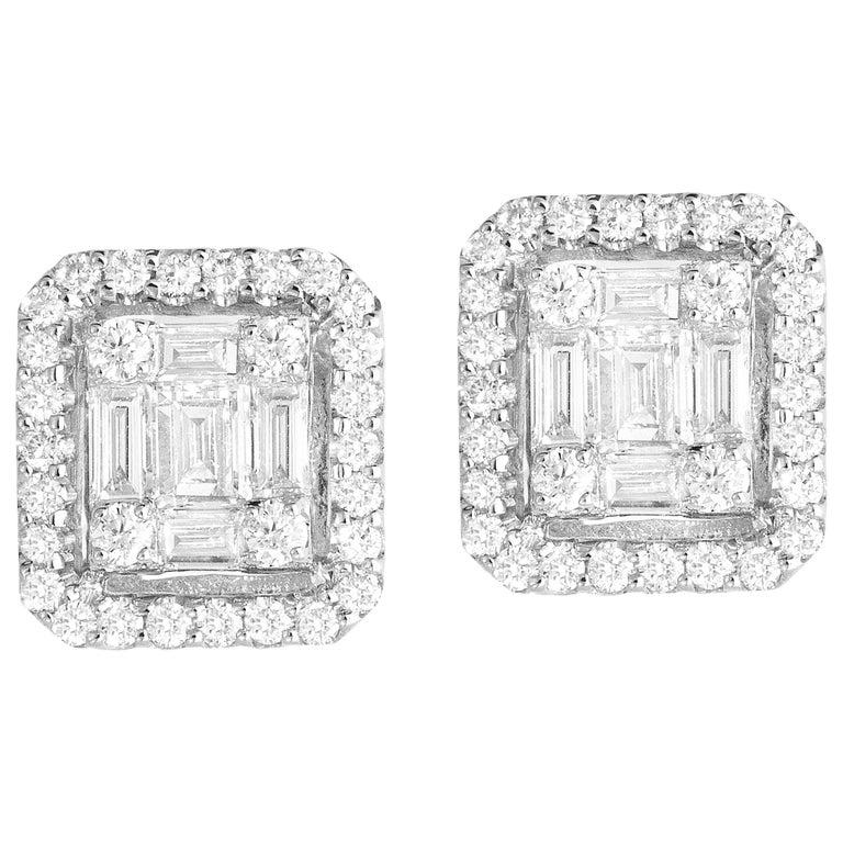 0.75 Carat Cluster Stud Diamond Earrings in 18 Karat White Gold For Sale