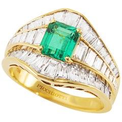 Picchiotti 18 Karat Yellow Gold Baguette Diamond and Octagonal Emerald Ring