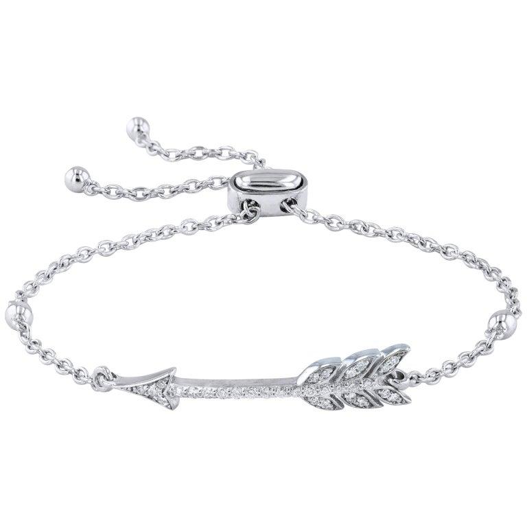 0.22 Carat Diamond White Gold Arrow Bracelet