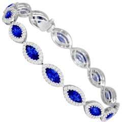 10.68 Carat Marquise Cut Ceylon Sapphire and Diamond Bracelet in 18k White Gold