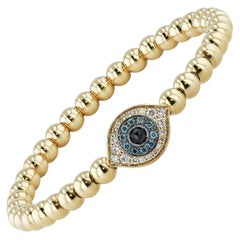 Blue and White Diamond Evil Eye Yellow Gold Bracelet