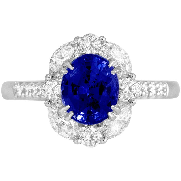 GAL Certified 1.83 Carat Oval Cut Ceylon Sapphire and Diamond Cocktail Ring For Sale