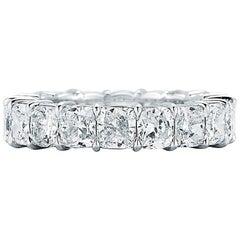 Platinum Cushion Cut Diamond Eternity Band 6.96 Carat