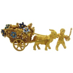 Vintage Articulated Cart with Ram, Cherub and Enamel Flowers 18 Karat Gold
