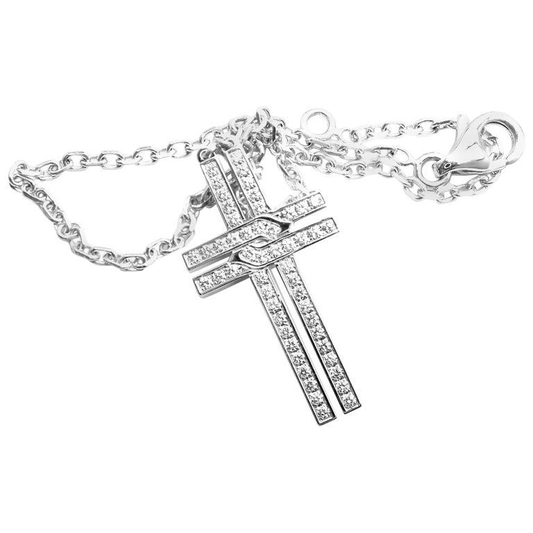 Cartier Cross Diamond Charm Link White Gold Bracelet