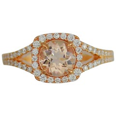Frederic Sage 1.18 Round Morganite and Diamond Ring