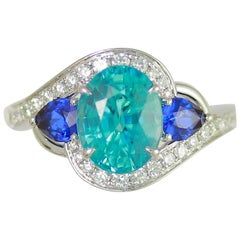 Frederic Sage 3.96 Carat Blue Zircon and Sapphire Ring