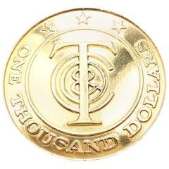 "Tiffany & Co. ""Tiffany Money"" $1,000 Solid Yellow Gold Token Coin"