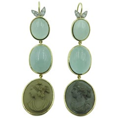 Pair of Gold, Platinum, Diamond, Milky Aquamarine and Antique Cameo Earrings