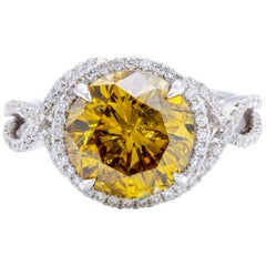 David Rosenberg 4.05 Carat Round Fancy Deep Brown Orange Yellow Diamond Ring