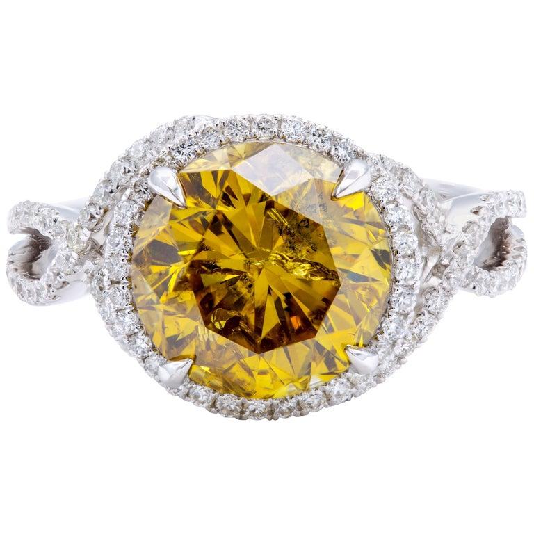David Rosenberg 4.05 Carat Round Fancy Deep Brown Orange Yellow Diamond Ring