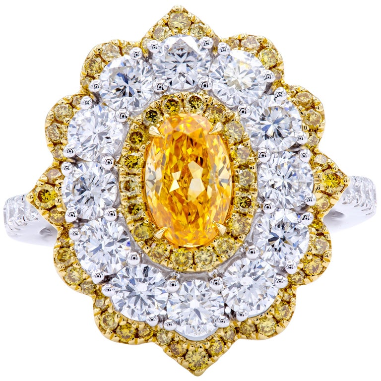 David Rosenberg .78 Ct Oval Fancy Yellow Orange GIA Flower Design Diamond Ring For Sale
